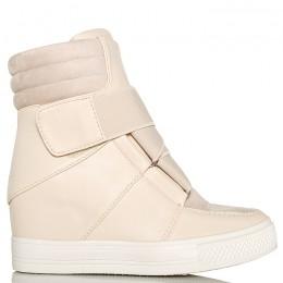 Sneakersy Beżowe Eko+Zamsz Przeplatana Guma 6181