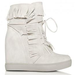 Sneakersy Jasno Szare Dziurkowane Ukryty Koturn 6185