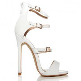 Sandały Białe Delikatne 3 Paski - Złote Klamerki