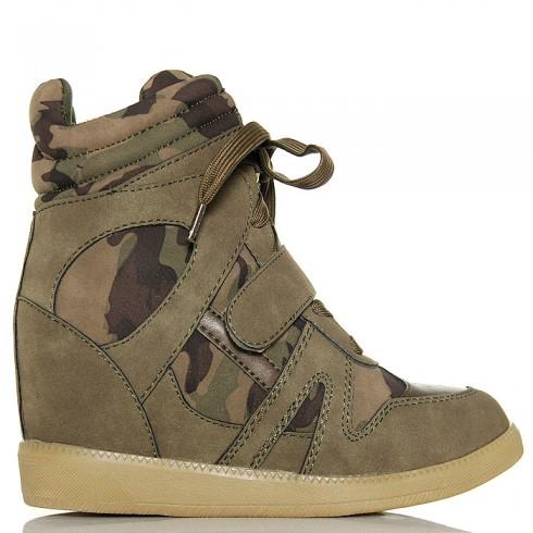 Sneakersy Na Jedną Rzepę - Moro - Khaki