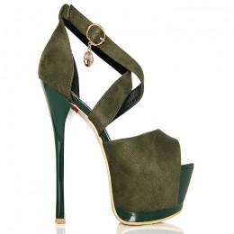 Sandały Zielone Zamszowe - Zakryta Pięta Wisiorek