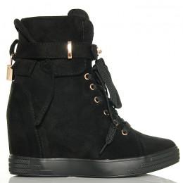 Sneakersy Czarne Zamszowe Na Koturnie Złote Ozdoby 6194