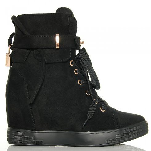 Sneakersy Czarne Zamszowe Na Koturnie Złote Ozdoby