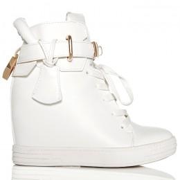Sneakersy Białe Sznurowane Na Koturnie - Blaszka