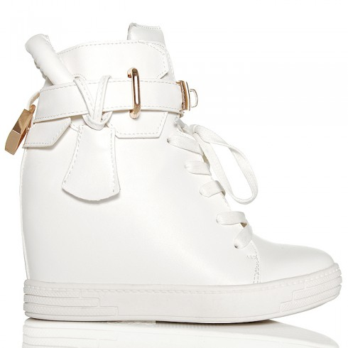 Nie - Sneakersy Białe Sznurowane Na Koturnie - Blaszka