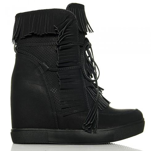 Sneakersy Czarne Dziurkowane Na Ukrytej Koturnie 6203