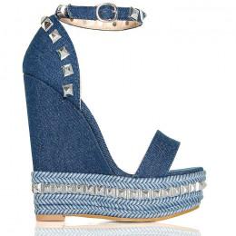 Sandały Na Plecionej Koturnie Srebrne Kolce Jeans