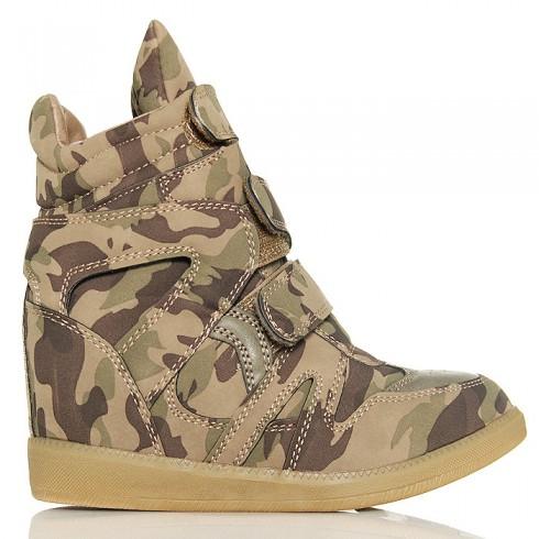 nie - Sneakersy Moro Na 3 Rzepy - Ukryta Koturna Khaki
