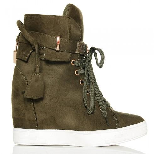 Sneakersy Wiązane Zielone Na Koturnie Złote Ozdoby
