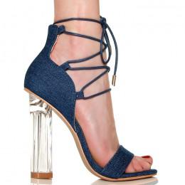 Sandały Ciemne Jeansowe Na Przeźroczystym Obcasie