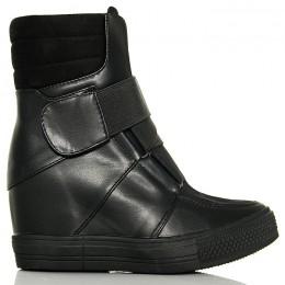Sneakersy Czarne Eko+Zamsz Przeplatana Guma 6225
