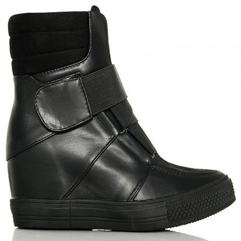 Sneakersy Czarne Eko+Zamsz - Przeplatana Guma