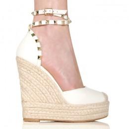 Sandały Białe Espadryle Na Sznurkowej Koturnie