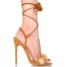 Sandały Camelowe Figlarne - Mega Sexy Pompony
