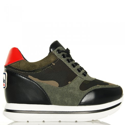 Sneakersy Moro Na Koturnie - Naszywka Pięta