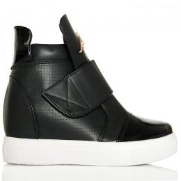 Sneakersy Czarne Na Ukrytej Koturnie - Złoty Napis