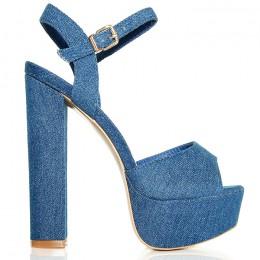 Sandały Klasyczne Ciemne Jeansowe Na Słupku
