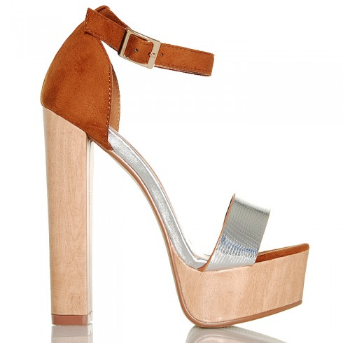 Sandały Drewniaki Kobieca Klasyka Srebrny Pasek 6249