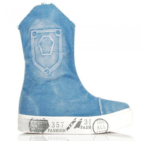 Sneakersy Jasne Wysokie Trampki Drukowana Guma
