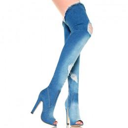 Muszkieterki Ciemny Jeans Strecz Open Toe - Słupek 6253