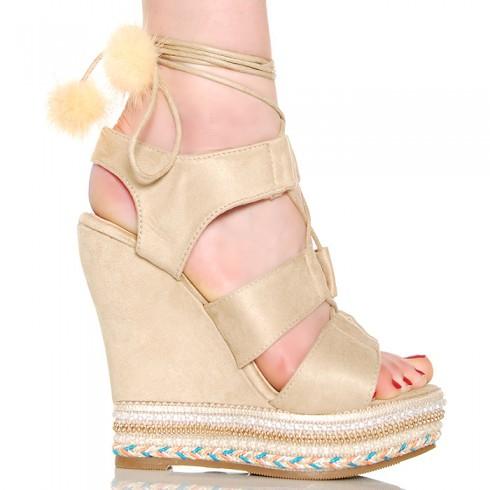 Sandały Beżowe Wiązane Na Koturnie Pompony i Perły 6255