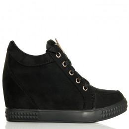 Sneakersy Krótkie Czarne Zamszowe - Sznurowane
