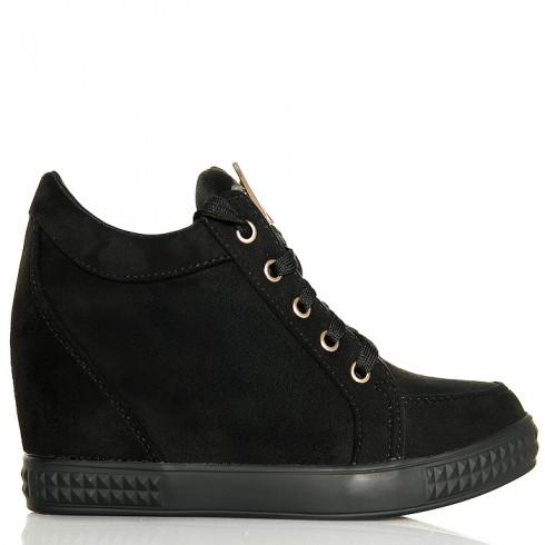 Sneakersy Krótkie Czarne Zamszowe - Sznurowane 6256