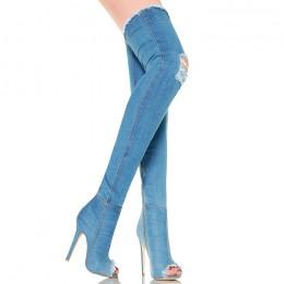 Muszkieterki Średnie Jeansowe - Open Toe - Strecz