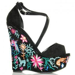 Sandały Czarne Zamszowe Na Kolorowej Koturnie 6267