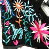 Sandały Czarne Zamszowe Na Kolorowej Koturnie
