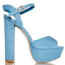 Sandały Klasyczne Jasne Jeansowe Na Słupku