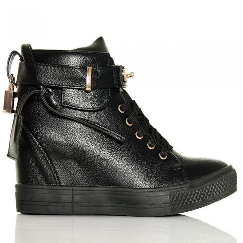 nie - Sneakersy Czarne Sznurowane Na Koturnie - Kłódka 6271