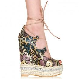 Sandały Różowo Złote Kwieciste Koturna - Sznurówka