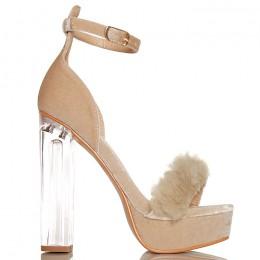 Sandały Beżowe Na Szklanym Słupku Sexy Futerko 6279