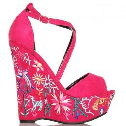 Sandały Różowe Zamszowe Na Kolorowej Koturnie