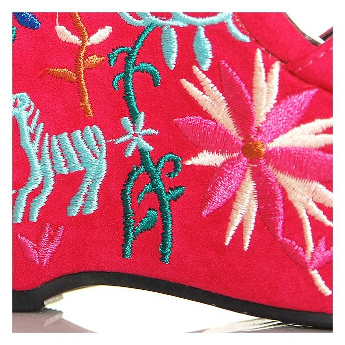 ff58b01e Sandały Różowe Zamszowe Na Kolorowej Koturnie 6283 - www.BUU.pl