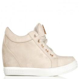 Sneakersy Krótkie Beżowe Zamszowe Sznurowane 6284