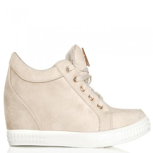 Sneakersy Krótkie Beżowe Zamszowe - Sznurowane