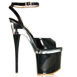 Sandały Czarne Lakierowane Wyraziste Przezroczyste