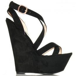 Sandały Czarne Na Koturnie Mega Wysokie Zamsz 6288