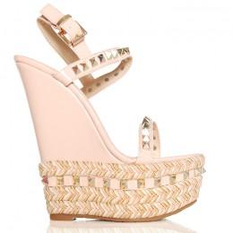 Sandały Różowe Lakierowane Na Sznurkowej Koturnie 6289