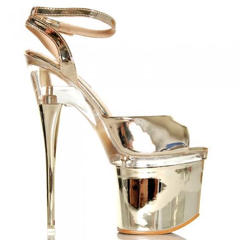 Sandały Złote Lakierowane Wyraziste Przezroczyste