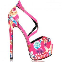 Sandały - Różowe W Pastelowe Kwiaty - Folklor