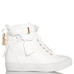 Sneakersy Białe Sznurowane Na Koturnie - Kłódka