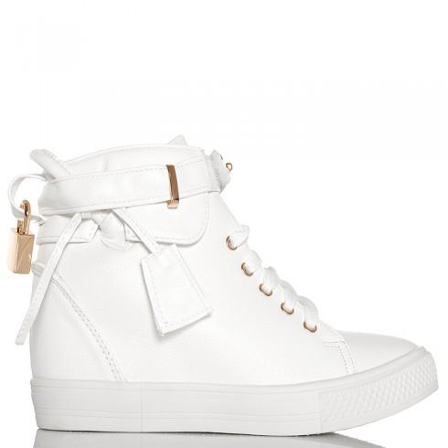 nie - Sneakersy Białe Sznurowane Na Koturnie Kłódka 6307