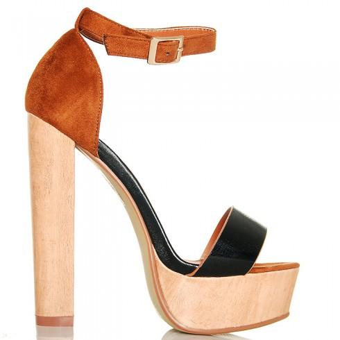 Sandały Drewniaki Kobieca Klasyka Czarny Pasek 6309