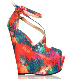 Sandały Czerwone Kwiatowe Na Modnej Koturnie Sexy 6310