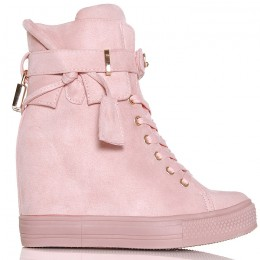 Sneakersy Różowe Zamszowe  Kłódka 6337