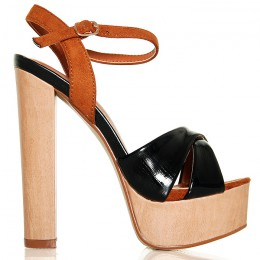 Sandały Drewniaki Na Szerokim Obcasie - Czarne Paski