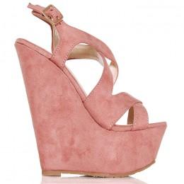 Sandały Rożowe Na Koturnie 6322